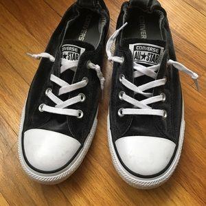 Velour converse slip on, dark gray/black